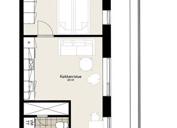 Skøn toværelses lejlighed med altan