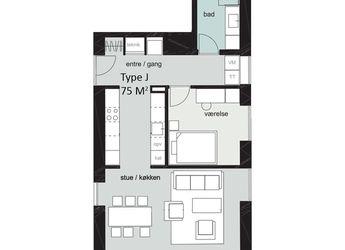 Nybygget 2-værelses lejlighed i privat ejendom