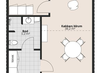 Toværelses rækkehus til leje