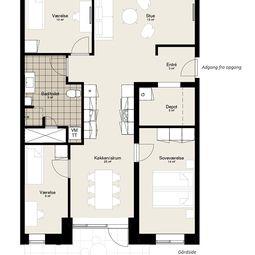 Skøn fireværelses med terrasse