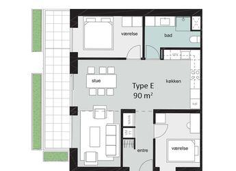 Nybygget stor rummelig lejlighed i centrum af Odense