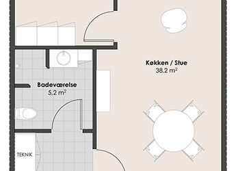 Stor toværelses lejlighed