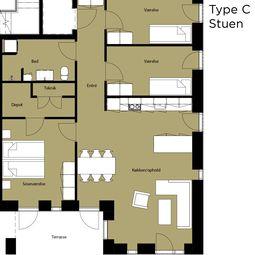 Stor lejlighed på 111 m2
