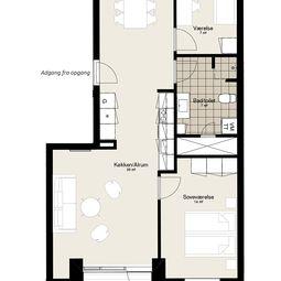 Skøn treværelses lejlighed med stor altan