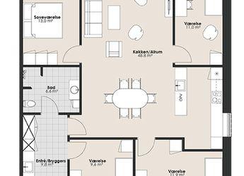 Dejligt femværelses rækkehus