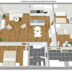 Fireværelses rækkehus i ét plan